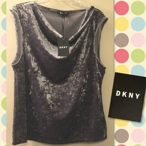 DKNY Crushed Velvet Silver Charcoal Sleeveless Top